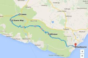 24 - 25th January 2015: Walked 30 miles from Lewes to Eastbourne