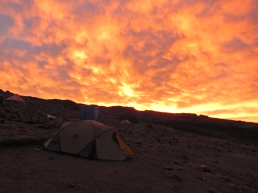 Sunset at Shira Hut campsite.